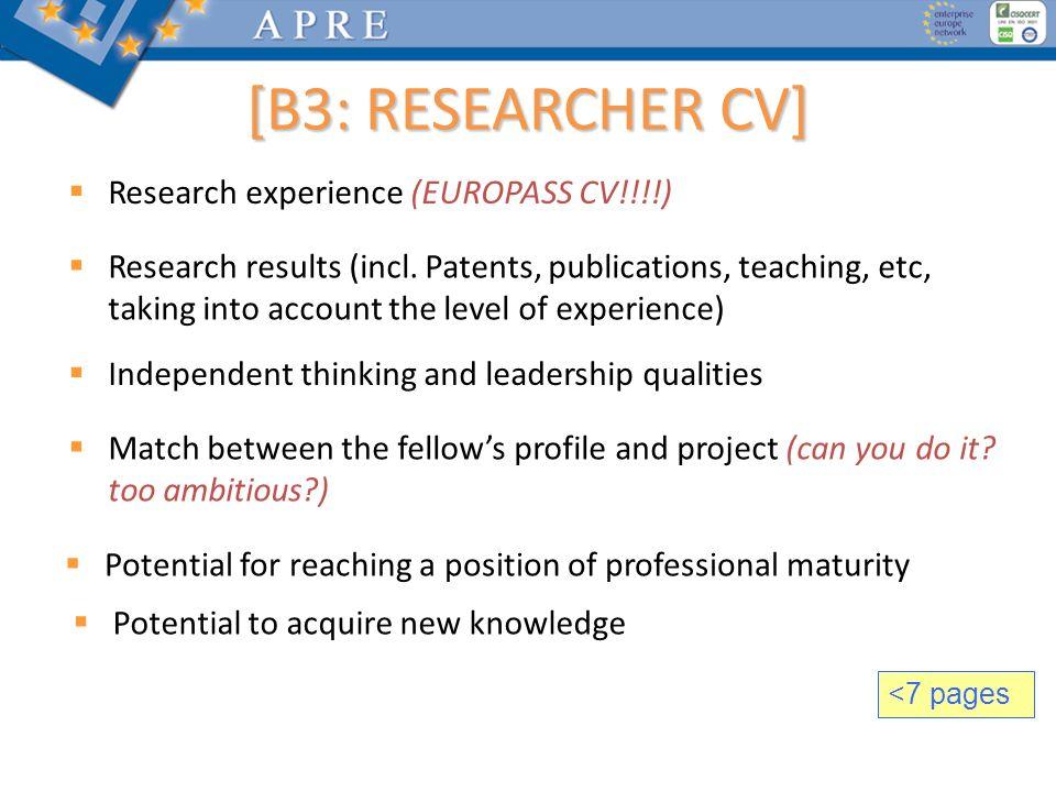 [B3: RESEARCHER CV] Research experience (EUROPASS CV!!!!)